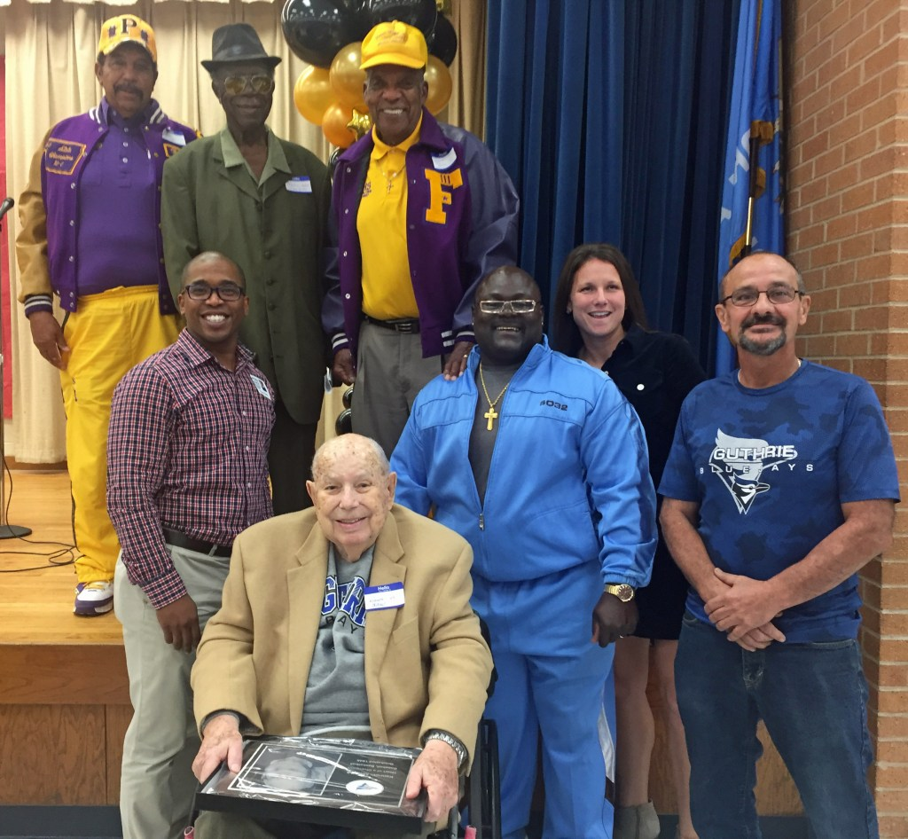 Hall of Fame members after being honored at the Guthrie High School Alumni Assembly.