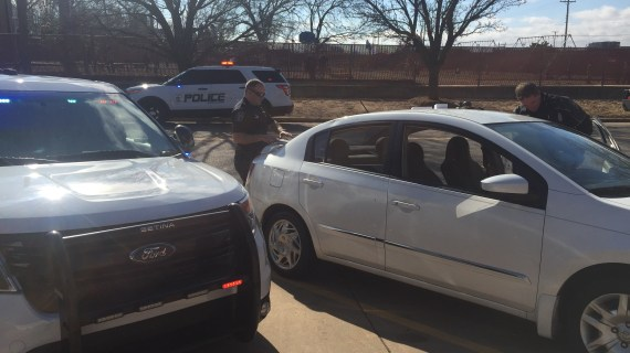 Vehicle pursuit ends in front of Guthrie school; driver arrested