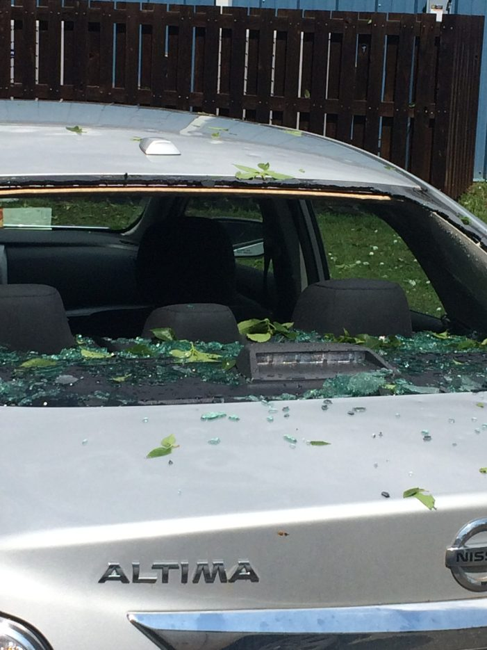 Hail knocks out classroom windows in Coyle