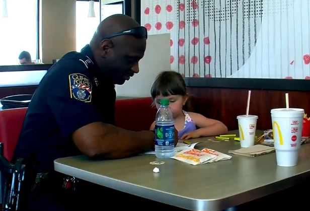 Coloring with Cops held at McDonald's
