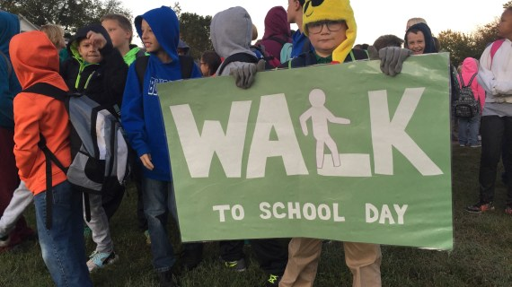 Guthrie students walk to school to celebrate Walk to School Day