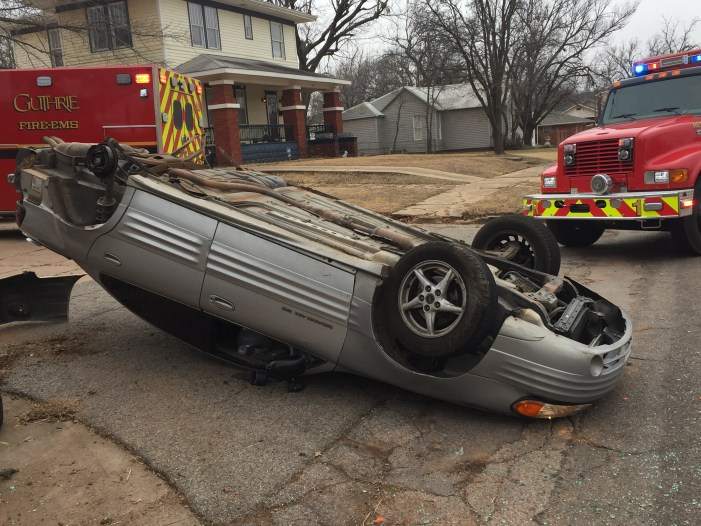 Two vehicle accident leaves one car on its top on Noble Ave.