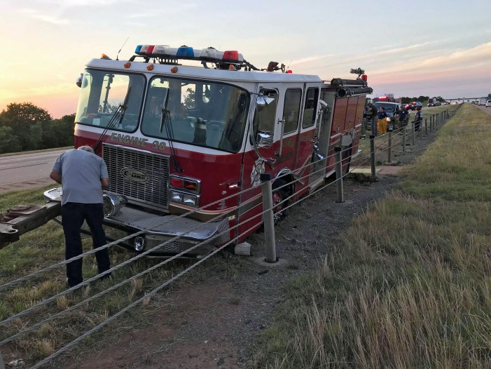 Sooner fire truck crashes into cable barriers on I-35