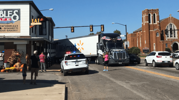 Photos: Downtown building struck, again, by semi-trailer