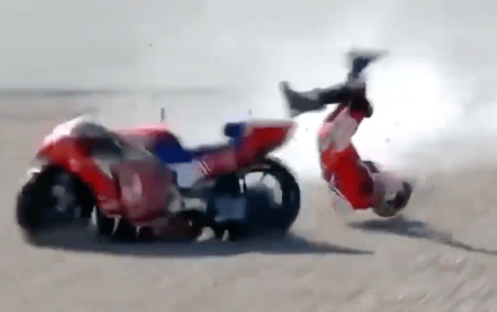 Watch — Violent MotoGP crash during practice session…
