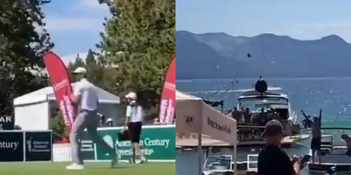 Aaron Rodgers drops a dime to guys on a boat…