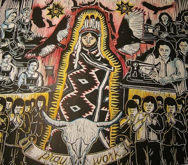 """Be a Good Girl"" (2006 woodcut print, courtesy of the Collection of Aboriginal and Northern Affairs Canada) is a reflection on the gendered work expectations and training of women in the 1950s. I have explored this topic by looking at Indian residential schools, and the ways in which young Native women were trained in an effort to transform them into good working-class wives and workers. The Indian residential school system had a half-day labour program for girls, which was abolished in 1952 out of concern that children were not receiving an education, but were only serving the financial needs of the school. Residential schools forbade Native children from speaking their languages or practicing their culture in an attempt to mold them, for their ""salvation,"" into productive members of white, capitalist society. The residential schools were part of a dark history of racism and genocide in Canada and continue to have negative effects. This sort of gendered work training, however, was not reserved for the assimilation of Natives; training schools like the Ontario Training School for Girls rehabilitated young women with ""loose"" morals and other traits that were not tolerated in the '50s. Both white working class and Native girls attended these training schools. This piece is about the conflicts, spiritual paradoxes, and societal expectations of young women in the '50s.  Tania Willard, Secwepemc Nation, is an artist and designer based in Vancouver. Through her art and design she hopes to communicate the stories and voices we are unable to hear—the voices that are missing and erased from our histories and realities."