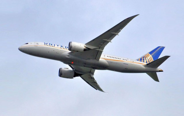 United Airlines Dreamliner departing Guyana