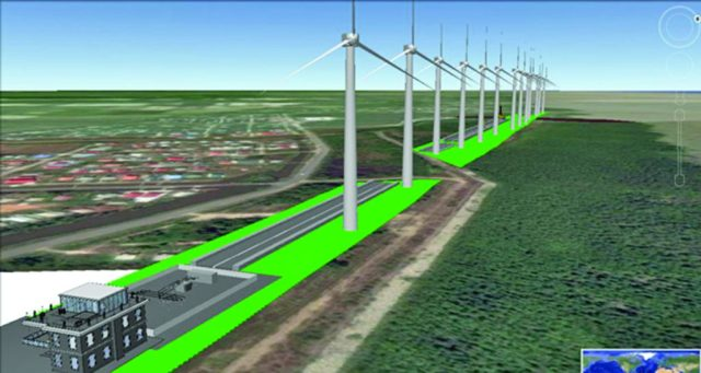 An artist's impression of the 25MW Wind Farm at Hope Beach, East Coast Demerara