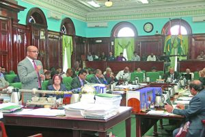 Opposition Leader Bharrat Jagdeo in Parliament on Friday as he addresses the issue of VAT on electricity, water, pharmaceuticals