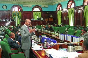 Opposition Leader Bharrat Jagdeo as he addressed the National Assembly
