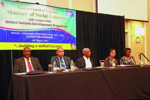 From left to right: Reverend Dr Raphael Massiah; Social Cohesion Minister, Dr George Norton; President David Granger; UNDP Resident Coordinator Mikiko Tanaka and Social Cohesion Programme Coordinator Sharon Patterson