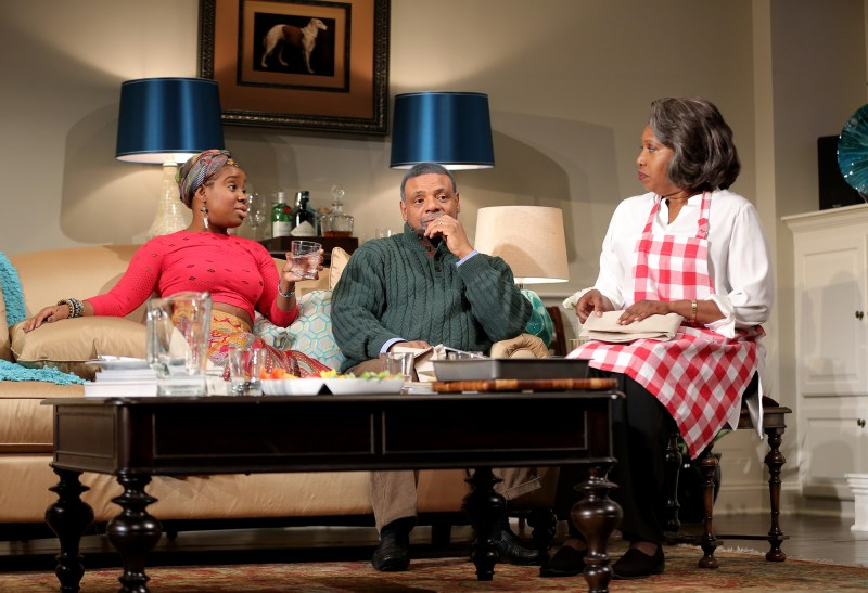 Shyko Amos (on the left) as Nyasha in 'Familiar' in New Haven
