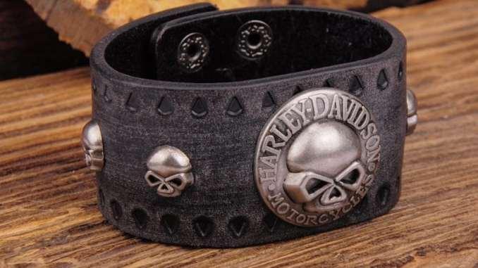 men's leather bracelet biker