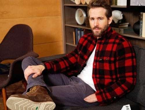 Ryan Reynolds flannel shirt facial hair lumbersexual lumberjack