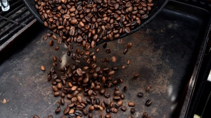end of coffee roasting of green beans