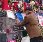 Art against war at the Place de la République in Paris following the terror attacks of 2015.