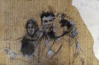 """Gaza family (nowhere to go)"", conte and chalk on newsprint, 40 x 26 cm, 2013"
