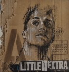 """A little extra"", conte, chalk, aerosol and collage on packaging, 25 x 25 cm, 2016"