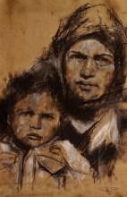 """boat children 4"", conte and chalk on paper, 50 x 80 cm, 2016"