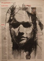 """""""the gullibles travels (another dead veiled girl)"""", conte on newsprint, 23 x 31cm"""