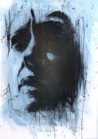 'flag blue', conte and oil wash on paper, 50 x 70cm