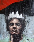 'Stig's got a new twenty quid parka', oil on canvas, 60 x 75cm