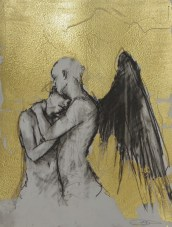 'William saw angels 6', conte and gold-leaf on paper, 25 x 30 cm