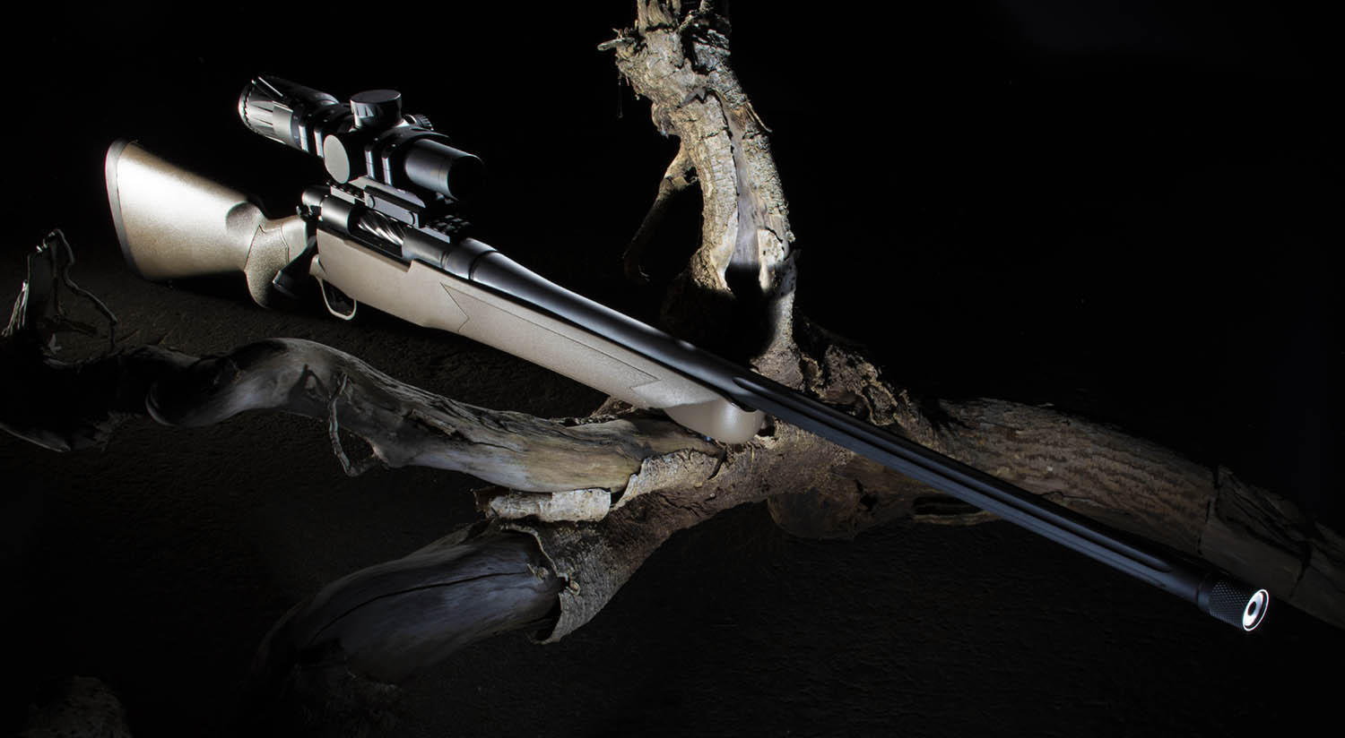 Hunting rifle and scope in low light steadied across a log.