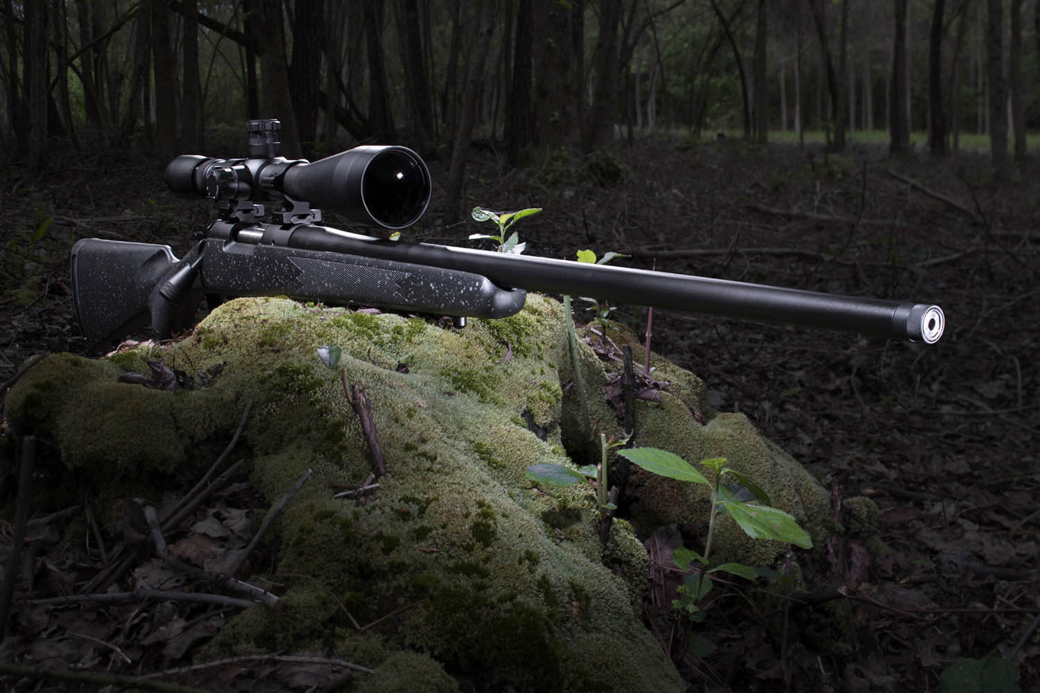 High powered rifle and riflescope ready in a forest just before dawn