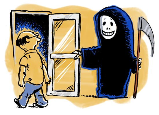 Death holds a door for a man–cartoon