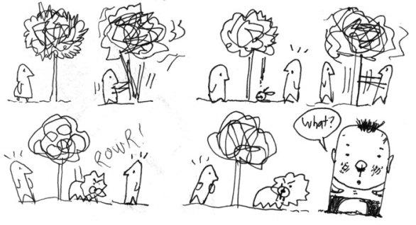 Sketchbook cartoon drawing
