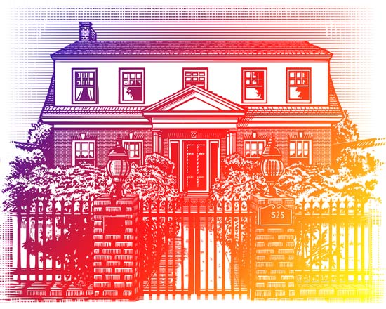 scratchboard drawing of house
