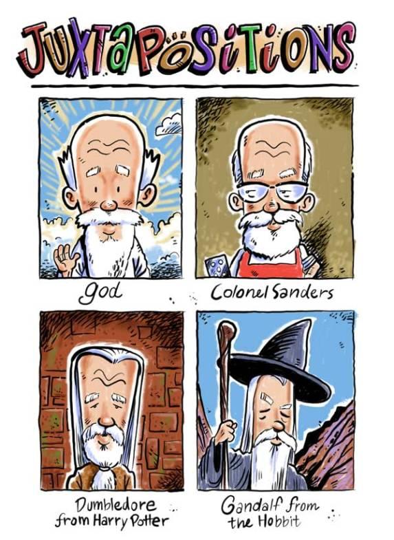 Colonel sanders, god, gandalf,  Dumbledore