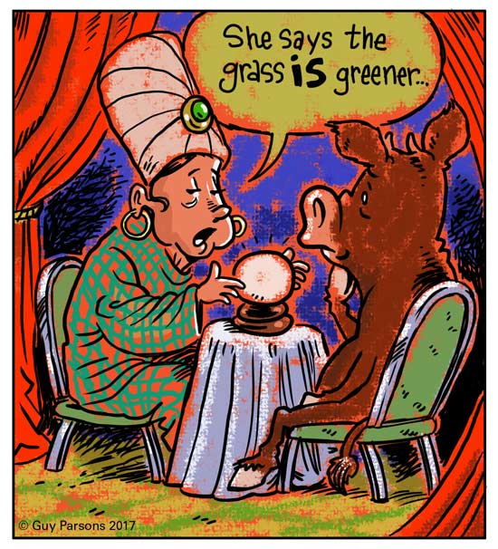 Cartoon of Fortune teller and cow