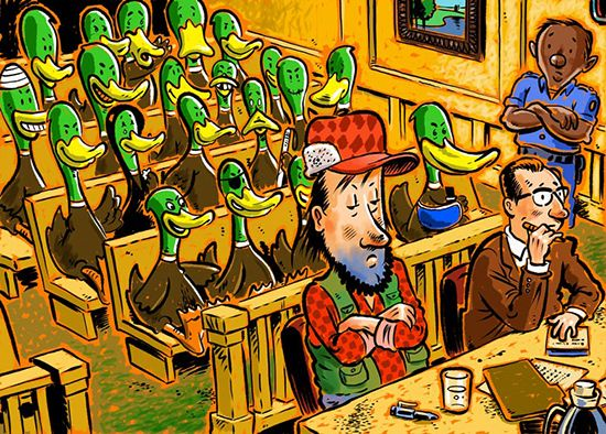 Ducks in court cartoon