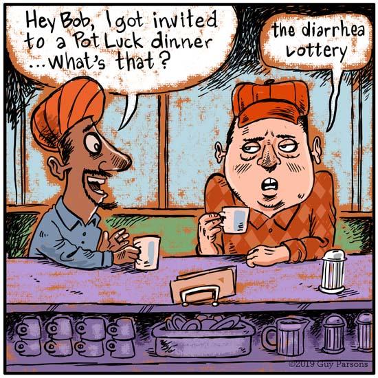Cartoon about diarrhea