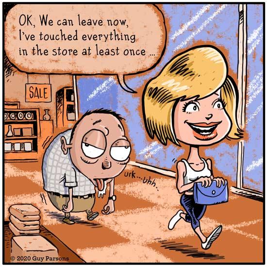 Women and shopping cartoon