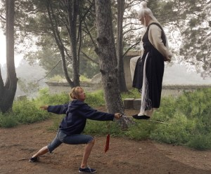 Pai Mei demonstrating a basic defence against the sword. From Kill Bill.