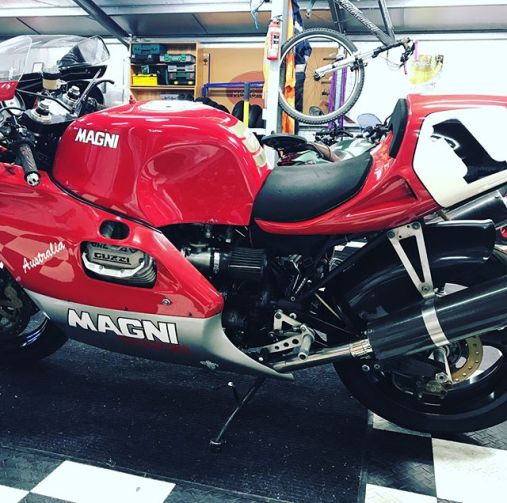 """Latest find from Japan. Frame No34. No """"Australia's"""" were ever sold in Australia. They we named """"Australia"""" in honour of Ted Stolarski's success racing the 4 valve Magni in the early 90's. I thought only 50 of these bikes were ever made however I have seen a another example from a private collection on the central coast of NSW that has a frame number over 100. I plan to contact the Magni family for more information."""