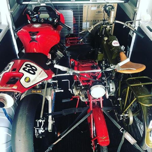 Van is packed. Off to @autoitaliacanberra With MGS01, motoleggera 65 and Normale. #autoitaliacanberra2018 #guzziraceraus #guzziracer #motoguzzi #motoguzzimgs01 #motoguzzinormale #guzzino #motoguzzitheclan #normale