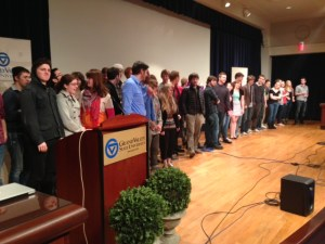 Film and Video students are recognized after showing their work.