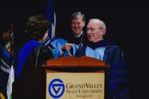 Winegar is recognized for his years of service at a Faculty Awards Convocation.