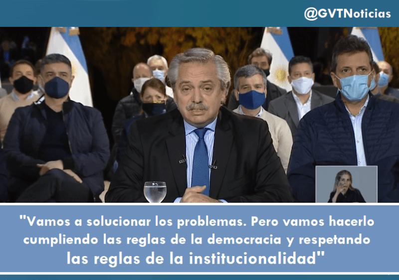 Alberto Fernández Vamos a solucionar los problemas pero cumpliendo las reglas de la democracia