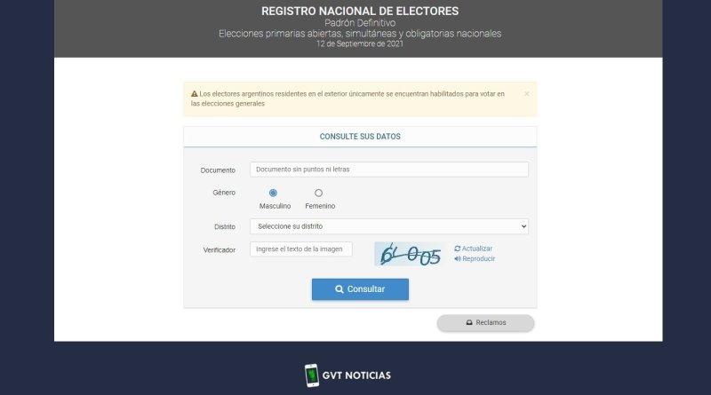 Dónde se vota,Elecciones 2021, PASO