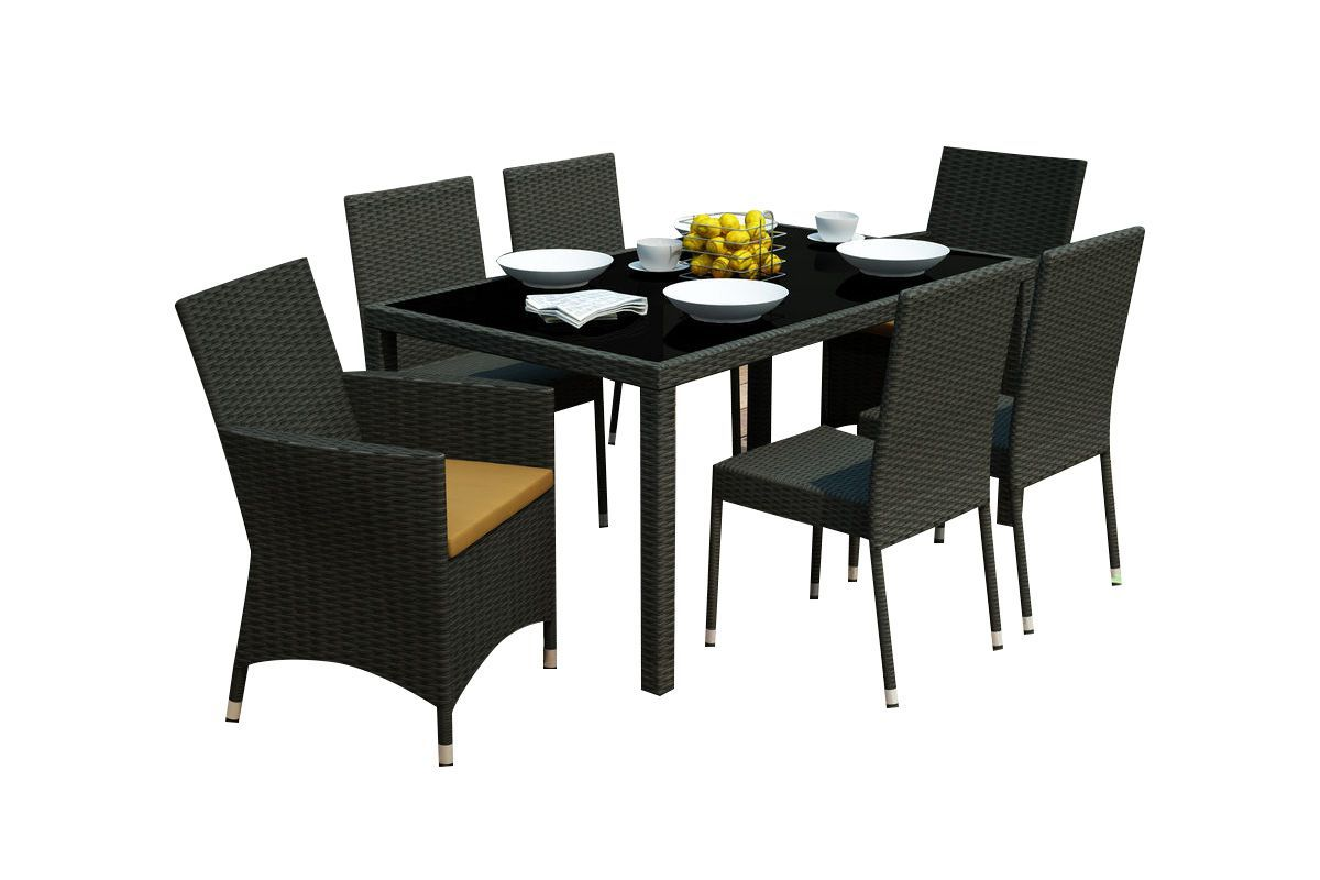 park terrace 7 piece black patio dining set