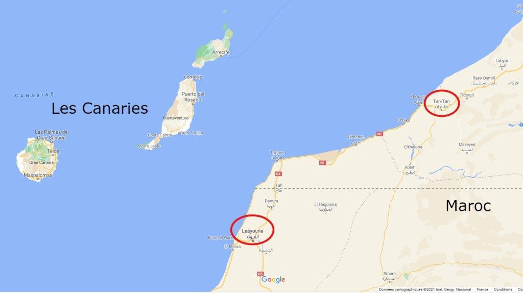Les migrants arrêtés à Laâyoune ont été déplacés de force vers Tantane (ou Tan-Tan) plus au nord. Crédit : Google map