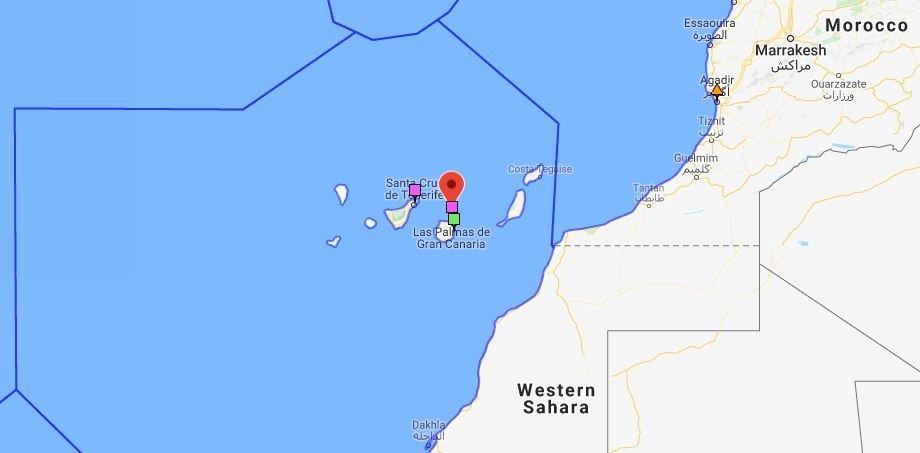 Cette carte montre les trois centres de secours et de coordination ainsi que la zone de recherche des Canaries. Crédit : sarcontacts.info