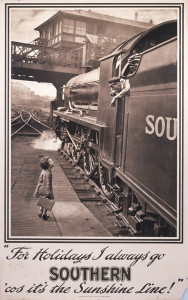 Poster produced for the Southern Railway (SR), showing a steam train driver leaning out of his locomotive, talking to a small child with a suitcase, who is standing on the platform below. Printed by Waterlow & Sons Ltd, Dunstable and Watford. Dimensions: 1016mm x 635mm.