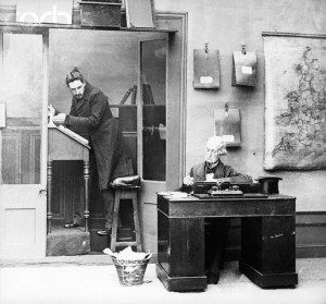 Office. Victorian office with boss and clkerk on high stool. (Marley's Ghost) BPA2# 3395. Undated Photo. --- Image by © Bettmann/CORBIS